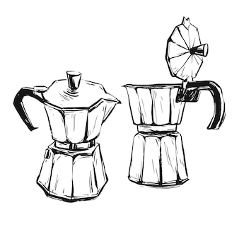 Handgemaakte abstracte grafische illustratie met geiser koffiezetapparaat geïsoleerd op wit.