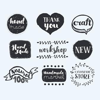 Handgemaakte, ambachtelijke workshop, gemaakt met liefde iconen