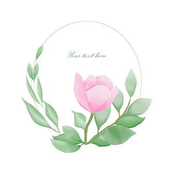 Handgemaakte aquarel bloemen frame bruiloft uitnodigingskaart