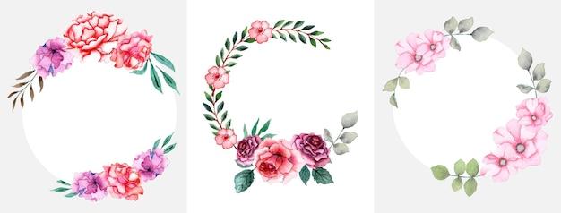 Handgemaakte aquarel bloemen krans set