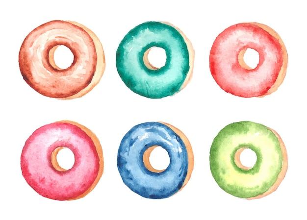 Handgemaakte aquarel donut set