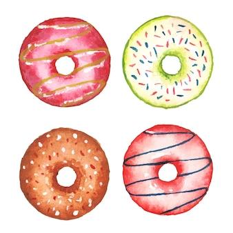 Handgemaakte aquarel donuts set