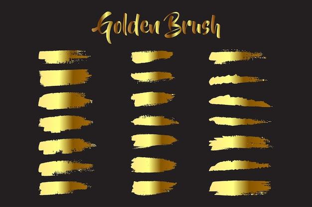 Handgemaakte aquarel vlek gouden penseelstreek set