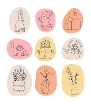 Handgemaakte clay pottery logo's collectie artisan creative craft sign in lijnstijl handgemaakt keramiek