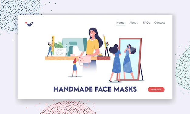 Handgemaakte diy beschermende gezichtsmasker creatie proces bestemmingspagina sjabloon. personages die thuis medische maskers naaien om buitenshuis te dragen tijdens de pandemie van het coronavirus. cartoon mensen vectorillustratie