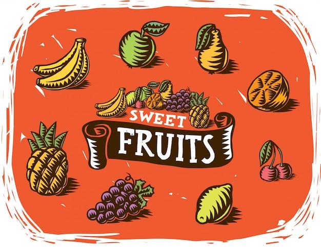 Handgemaakte fruittekeningen