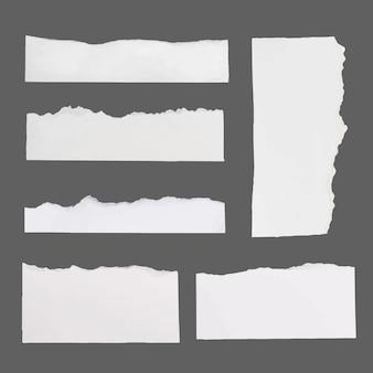 Handgemaakte gescheurde papieren ambachtelijke vector in witte minimalistische stijlenset