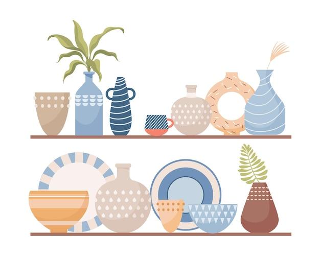 Handgemaakte keramiek voor huisdecoratie platte vectorillustratie geïsoleerd