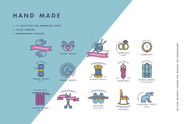 Handgemaakte kleurrijke lijn logo's set. handgemaakte lineaire badges of handgemaakte overzichtslabels. breiwerk en naaisymbolen. illustratie.