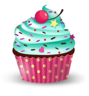Handgemaakte leuke cartoon cup cake met kers.