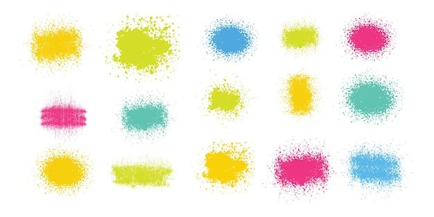 Handgemaakte penselen ontwerpsjabloon borstel splatter vectorillustratie
