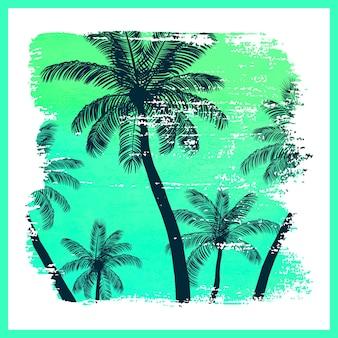 Handgemaakte poster op aquarel penseelstreek achtergrond met palmbomen, creatief zomerpatroon, print. vector illustratie