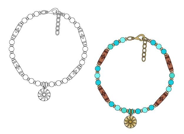 Handgemaakte sieraden in etnische stijl: amuletarmband met hanger zon. illustratie geïsoleerd op een witte achtergrond.