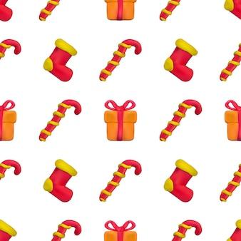 Handgemaakte vector plasticine naadloze patroon voor kerstmis en gelukkig nieuwjaar geïsoleerd op een witte achtergrond. kan worden gebruikt voor het bedrukken van textiel, opvulpatronen, texturen of cadeaupapier en behang