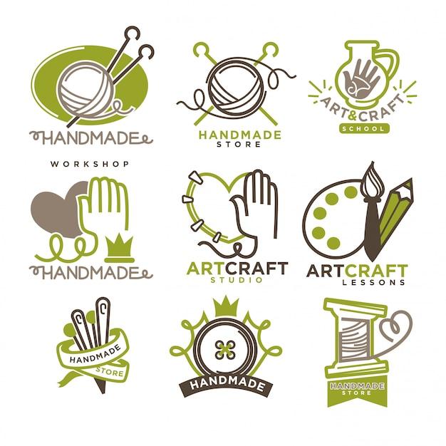 Handgemaakte workshop logo badges met foto's op wit wordt geïsoleerd