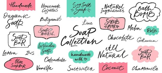 Handgemaakte zeep- en scrubbar-labels met handgetekende letters. kan worden gebruikt voor zelfgemaakte cosmetica. vector illustratie