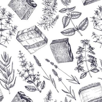Handgemaakte zeep ingrediënten naadloze patroon handsketched aromatische en geneeskrachtige kruiden achtergrond