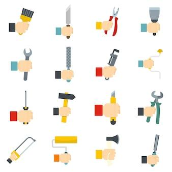 Handgereedschap icons set