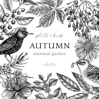 Handgeschetst herfst retro frame elegante botanische sjabloon met herfst vogels laat bloemen