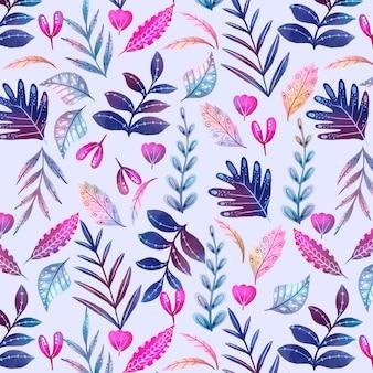 Handgeschilderd abstract bladerenpatroon