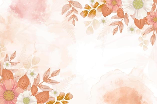Handgeschilderd aquarel bloemenbehang