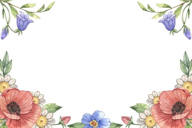 Handgeschilderd aquarel bloemenbehang Gratis Vector