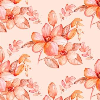 Handgeschilderd aquarel bloemmotief in perzik tinten