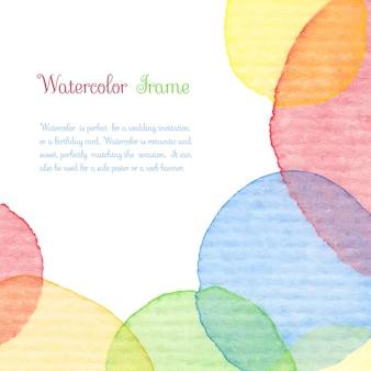 Handgeschilderd aquarel frame. kleurrijke cirkels achtergrond. blauwe, rode, oranje, gele kleur. vintage sjabloon voor een bruiloft of baby shower uitnodiging, verjaardagskaart, scrapbooking. vector illustratie.
