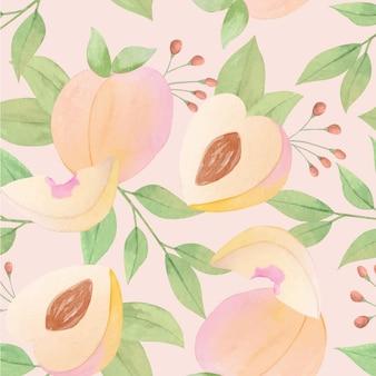 Handgeschilderd aquarel perzik patroon ontwerp