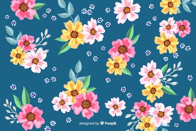 Handgeschilderd bloemenkunstwerk als achtergrond
