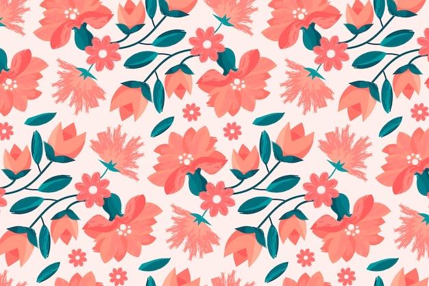 Handgeschilderd bloemmotief in perzikkleurige tinten