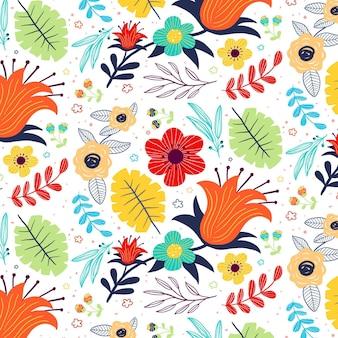 Handgeschilderd exotisch bloemenpatroon