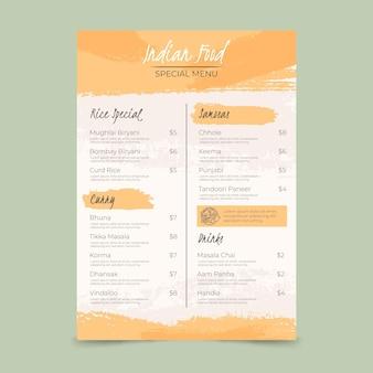 Handgeschilderd indiaas menu