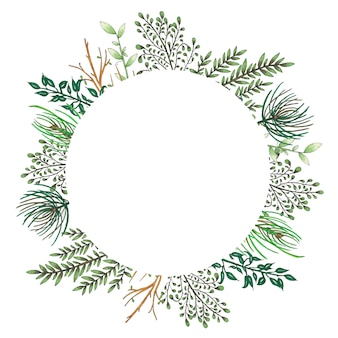 Handgeschilderd met markeringen bloemenframe met takje, tak en groene abstracte bladeren Gratis Vector