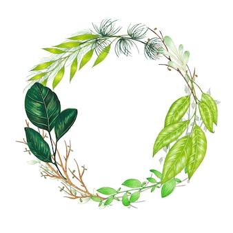 Handgeschilderd met markers bloemenkrans met takje, tak en groene abstracte bladeren