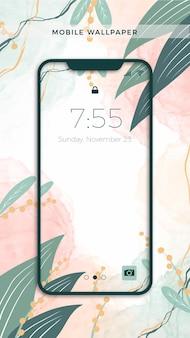 Handgeschilderd mobiel behangontwerp met planten en bladeren