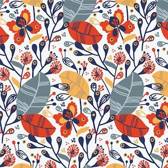 Handgeschilderd patroon met exotische bloemen