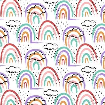 Handgeschilderd regenboogpatroon in stijl