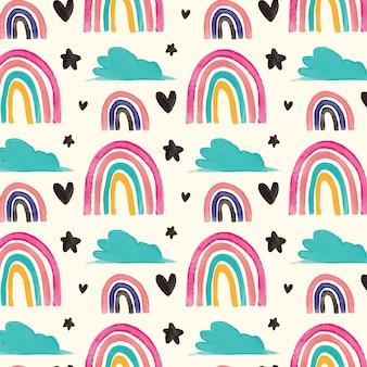 Handgeschilderd regenboogpatroon rainbow