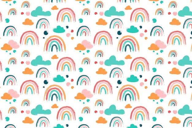 Handgeschilderd regenboogpatroonontwerp