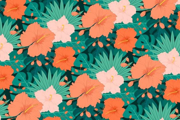 Handgeschilderd rood exotisch bloemenpatroon