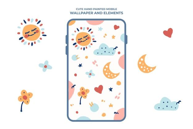Handgeschilderd schattig mobiel apparaatbehang met zon- en maanontwerp