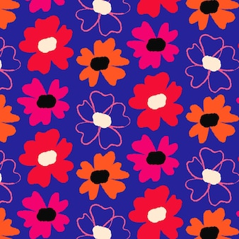 Handgeschilderde abstract floral patroon Gratis Vector