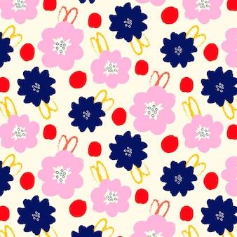 Handgeschilderde abstract floral patroon Premium Vector