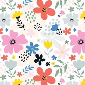 Handgeschilderde abstract floral patroon Gratis Vector