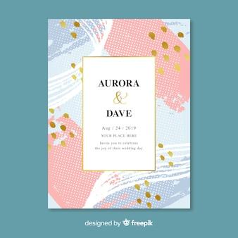 Handgeschilderde abstracte bruiloft uitnodiging sjabloon