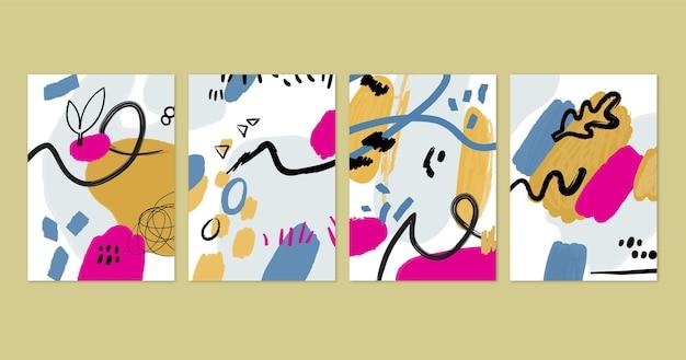 Handgeschilderde abstracte kunst omslagset