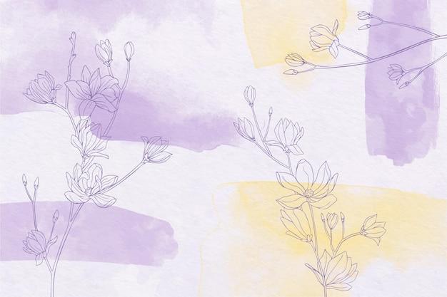 Handgeschilderde achtergrond met getekende bloemen