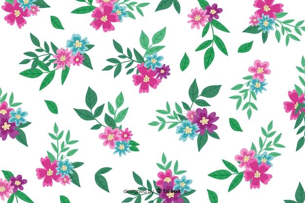Handgeschilderde achtergrond met roze bloemen