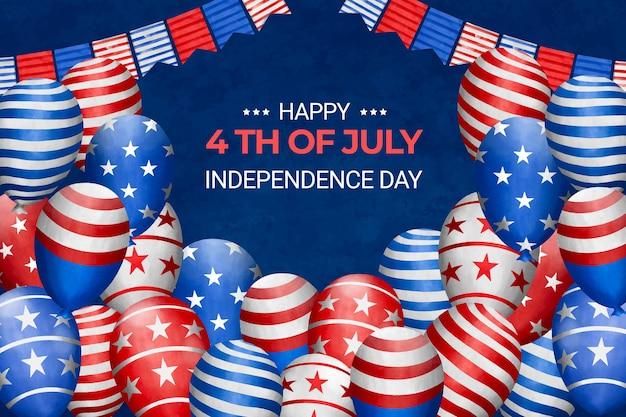 Handgeschilderde aquarel 4 juli - onafhankelijkheidsdag illustratie Gratis Vector